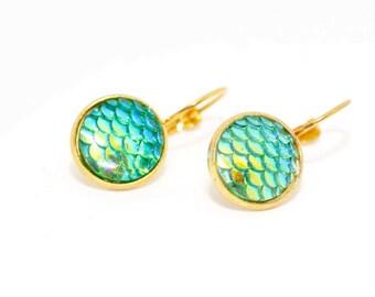 Green Mermaid Earrings, Mermaid Scale Earrings, Mermaid Jewellery, Fantasy Jewelry, Teenager Gift, Birthday Gift, Best Friend Gift,