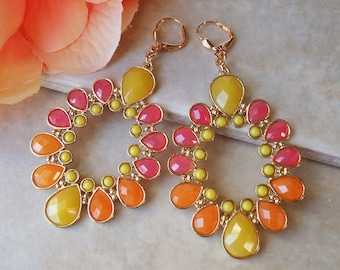 Multi Color Dangle Earrings.Colorful.Hoop.Gold.Statement.Bridal.Orange.Yellow.Pink.Chandelier.Vintage.Bohemian.Big.Long.Gift.Handmade.