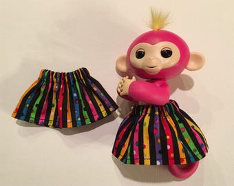 Fingerlings Monkey Skirt - Colorful Stripes & Polka Dots Fits Toys Bella Mia Sophie Aimee Liv Zoe Birthday Party Pink Purple White Confetti