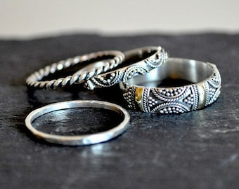 Brighton - Set of 4 intricate, detailed, solid silver stacking rings, boho, unique. 18k gold, Indonesian.
