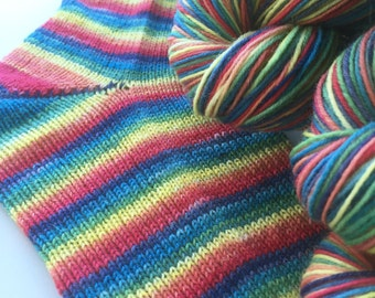 Hand dyed self striping sock yarn - Mellow Rainbow
