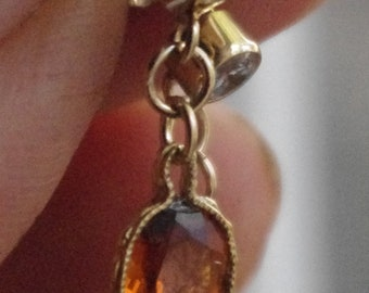 Natural Madeira Citrines and Cubic Zirconia in 14kt Gold-fill stud drop earrings
