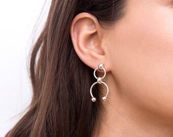 Dangle Stud Earrings, Silver Earrings, Simple Drop Earrings, Silver Circle Earrings, Unique Dangle Earrings, Gift Idea for Women, Geometric