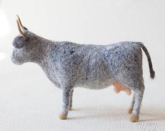 Needle Felted Cow. Waldorf Inspired. Nativity Animal. Farm Animal