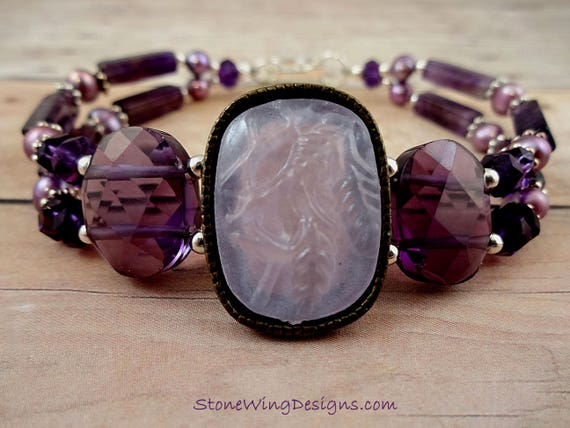Amethyst and Lavender Pearls Bracelet