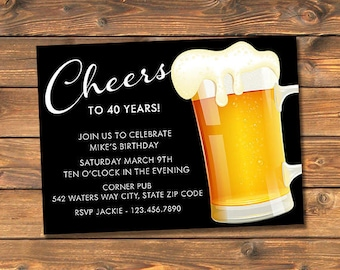 Cheers Beer Birthday Party Invitation, Beer Mug Invites, Custom Printable Inivtations, Personalized, Your Words, Any Age, 21st 30th 40th