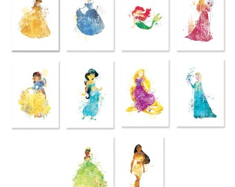 SALE Dorm Decor, dorm wall art, Disney princess watercolor Set of 10 Nursery Art Print,Disney princess nursery art,cinderella ET205