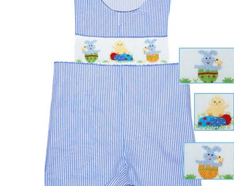 Dana Kids Bunny Chick Eggs Smocked Shortall Baby Toddler Boys 12 Months to 4T