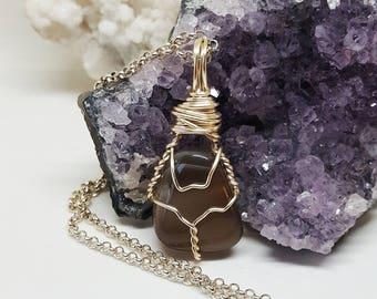 Wire Wrapped Botswana Agate Necklace OOAK Handmade Jewelry Healing Crystal Jewelry The Stone Fairy Jewelry Wicca Bohemian Jewelry BA8317