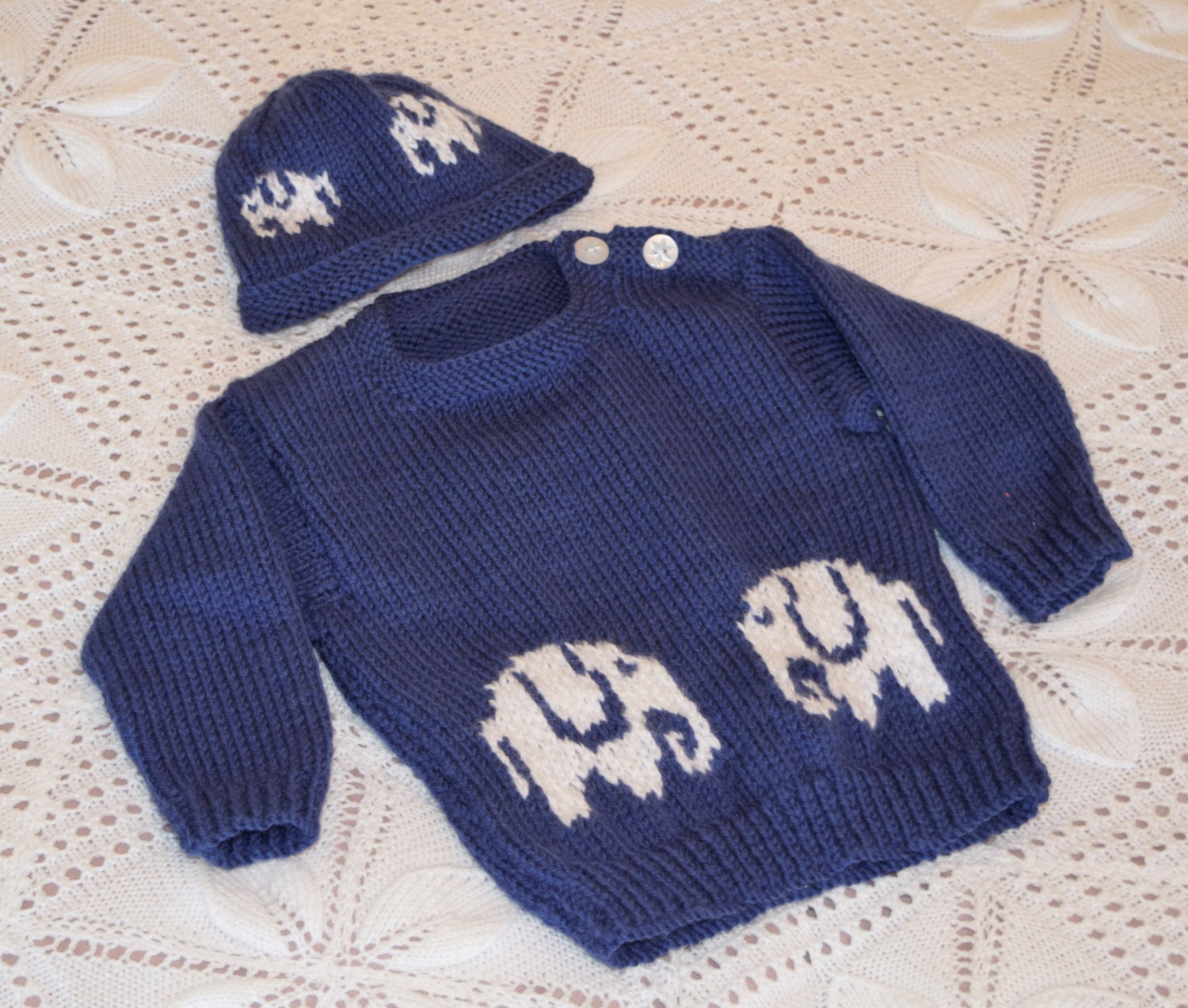 Baby Sweater and Hat knitting pattern with Elephants, Aran Sweater ...