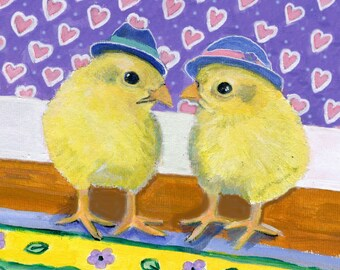 """Chicken with hearts, 5 x 5"""" blank card, to express love, friendship, or springtime joy"""