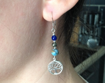 Tree of life and natural stones earrings