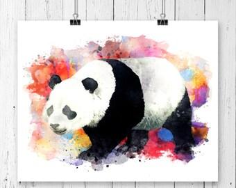 Watercolor Panda  Bear #10 Fine  Art Print, Poster, Wall Art, Home Decor, Kids Wall Art, Play Room Wall Art,Nursery Wall Art, Archival print