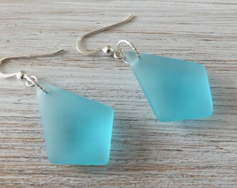 Blue glass earrings, frosted earrings, diamond earrings, kite earrings, quadrilateral earrings, summer  jewellery, boho earrings, opaque