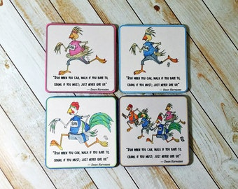 Coaster Set Runner Gift Fun and Inspiration Running Chickens You Choose Mixed Set or All of One Design Never Give Up