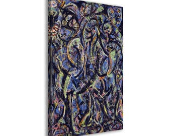 Jackson Pollock - Gothic - Abstract Canvas Print Wall Art / Framed or Frameless / Available in 1, 3, and 5 Panel versions
