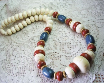 1/2 PRICE SALE Vintage Faded Red White & Blue Beaded Necklace Free Shipping in USA