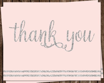 Glitter, Thank You Cards, Baby Shower, It's a Girl, Pink, Silver, Sparkle, Stripes, Blush, Set of 20 Folding Notes, FREE Shipping, ITGRL