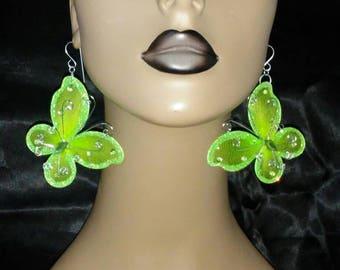 Beautiful Lime Green Sheer Fabric Wired Shaped Butterfly Earrings Embellished with Silver Glitter, Large Earrings, Fashion Earrings, Big Ear