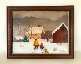 Vintage painting - winter scene / copy of a print , signed by the artist