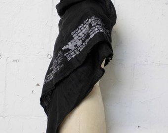 007 black linen printed text scarf, linen accessories