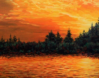 """Landscape Art Print - """"Gold Shore"""", Limited Edition Giclee Print on Fine Art Paper of Great Lakes shoreline, 7"""" x 9.25"""