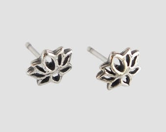 Sterling Silver Stud Earrings, Silver Studs, Lotus Stud Earrings, Lotus Studs. Flower Earrings, Flower Studs, Floral Earrings, Lotus Flower