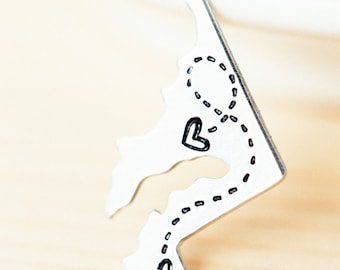 Custom State Keychain - Long Distance Relationship Keychain - CHOOSE Your STATE - Long Distance Love Keychain