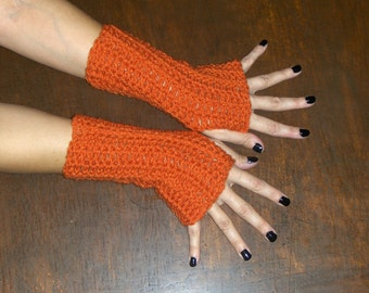 The Carrot Spice Cake Fingerless Texting Gloves Crochet Gloves Handmade Crocheted Folk Arm Warmers rustic Mittens Fall Autumn Fashion Simple