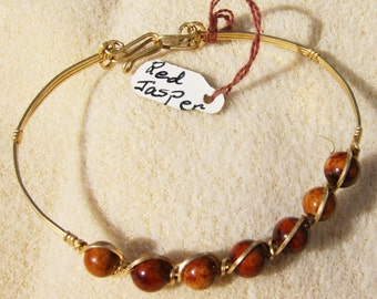 Red Jasper Bracelet - Handmade Gold Wire Wrapped Gemstone by JewelryArtistry - BR496