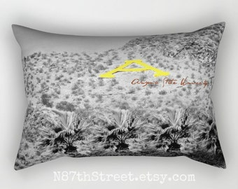 "ASU 12 X 17"" Pillow Cover. Photo Art, TMCdesigns. Black & White, Yellow. Arizona State University. A Mountain. Desert. Grad gift. Alumni."