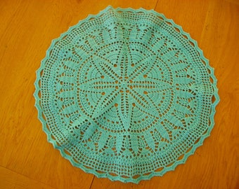 turquoise blue doily