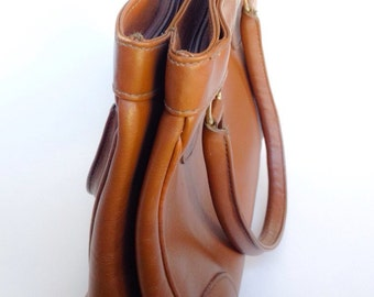 Vintage Brown Leather Handbag Purse Daybag Ganson 70's