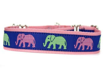 Wide 1 1/2 inch Adjustable Buckle or Martingale Dog Collar in Elephants