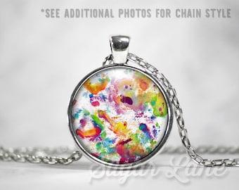 Watercolor Necklace - Glass Dome Necklace - Watercolor Splatter Pendant - Art Necklace
