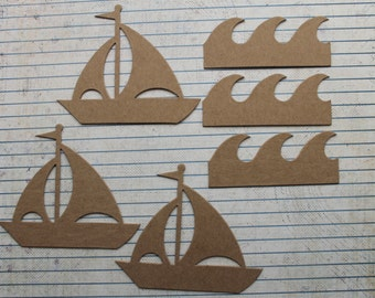 3 Bare chipboard sailboat and 3 water/wave die cuts