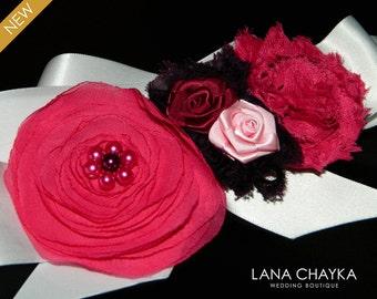 Hot Pink Grape White Flower Girl Sash Wedding Fuschia White Rustic Sash Flower Pink Purple Satin Belt Girl Sash Pink Grape Floral Child Sash