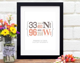 Bridal Shower Gift for Bride Wedding Gift Personalized Coordinates Gift Engagement Custom Location Sign for Home Unique Engagement Gift Idea