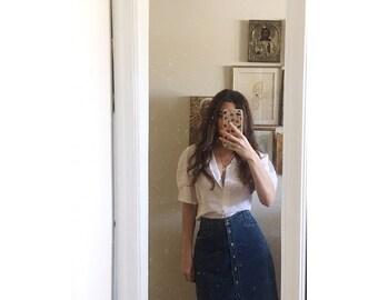 Vintage jean skirt / denim pencil skirt /  button front skirt/ jean high waist mini skirt / size 10