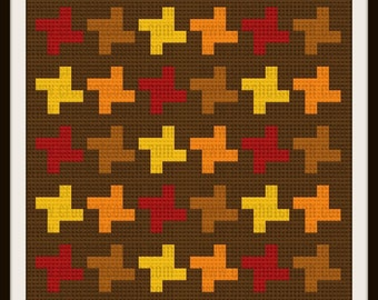 C2C Graph, Spinning Away Autumn Afghan, Written Word Chart, Quilt Graph, Quilt C2C