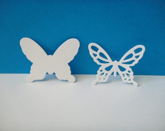 Cutting white set of 2 butterflies of 4.4 cm in height