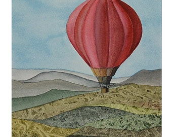 Hot Air Balloon Original Watercolour Wall Art One of a Kind landscape Home Décor Aquarelle Tuscany Red housewarming gift for Her and Him
