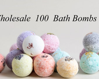 BULK 100 Natural Bath Bombs! Bulk Bath Fizzies, Bath bombs the Best Favor Gifts or Party Favors! All Natural with Essential Oils, Lizush