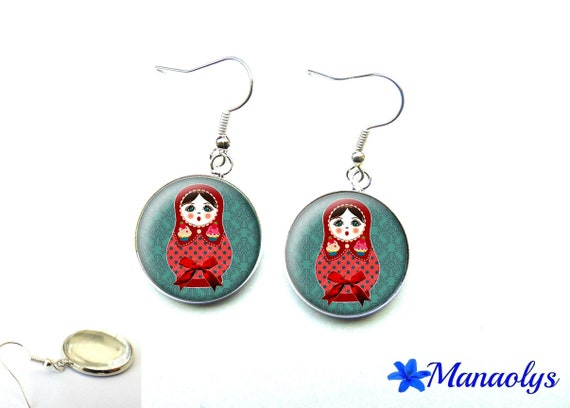 Red matryoshka on blue glass 2565 cabochons earrings