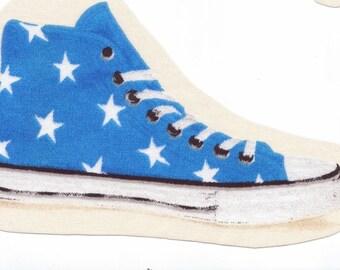 "Application textile ""BASKET"" bleu vintage 70's Etoiles blanches *"