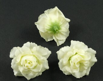 Set of 3 artificial flowers without stem 4cm - beige