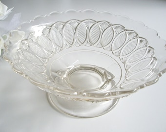 Sale, Antique Glass Footed Bowl or Low Standard Compote - Victorian EAPG Early American Pressed Glass Bowl - Star Diamond and Oval