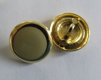 Button * vintage style round gold and yellow