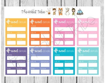 Get Organised! Race details, running, event - planner stickers
