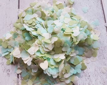 Mint, Ivory and Light olive green mix heart confetti!Wedding,party decoration,throwing! Romantic Biodegradable 2- 10 handfuls